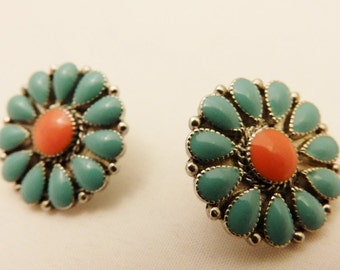Silver Tone Turquoise and Coral Color Vintage Round Flower Earrings