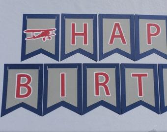 First In Flight Airplane Birthday Banner