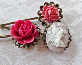 A Set of 3, Fairy And Pink Floral Hair Clips