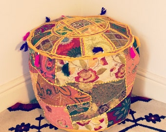 Handmade Yellow Indian Ottoman Pouf Foot Stool Cover