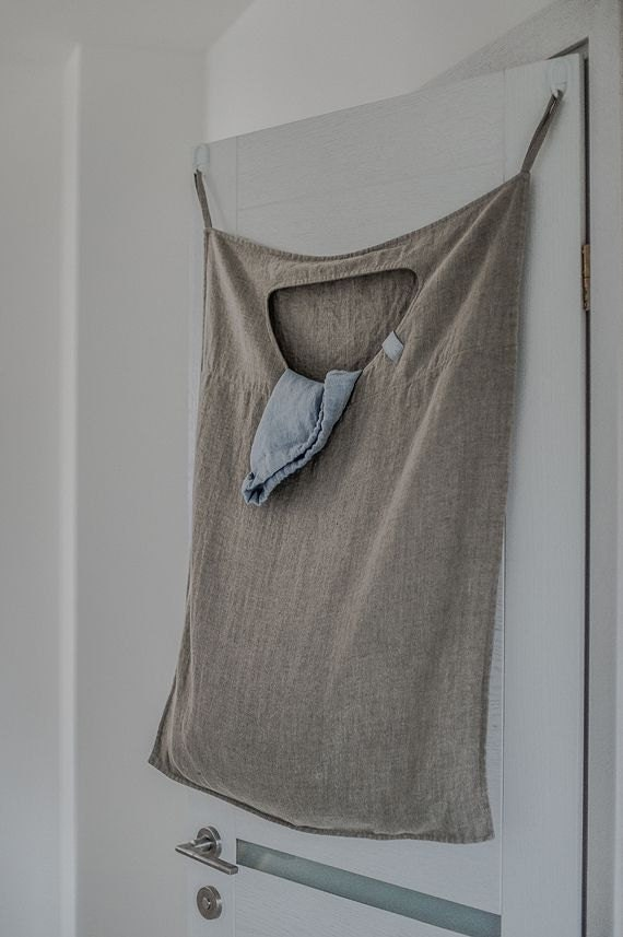 hanging linen laundry bag