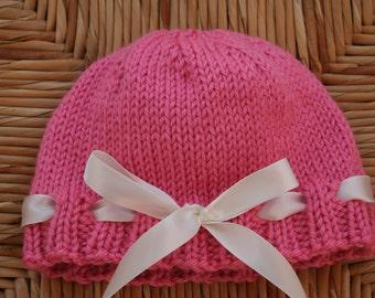 Pink Ribbon-Trim Baby Hat / Toddler Hat