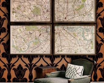 """Map of London 1899, Sherlock Holmes London map, 4 sizes up to 80x55"""" (200x140cm) in 1 or 4 parts, Sherlock map - Limited Edition of 100"""