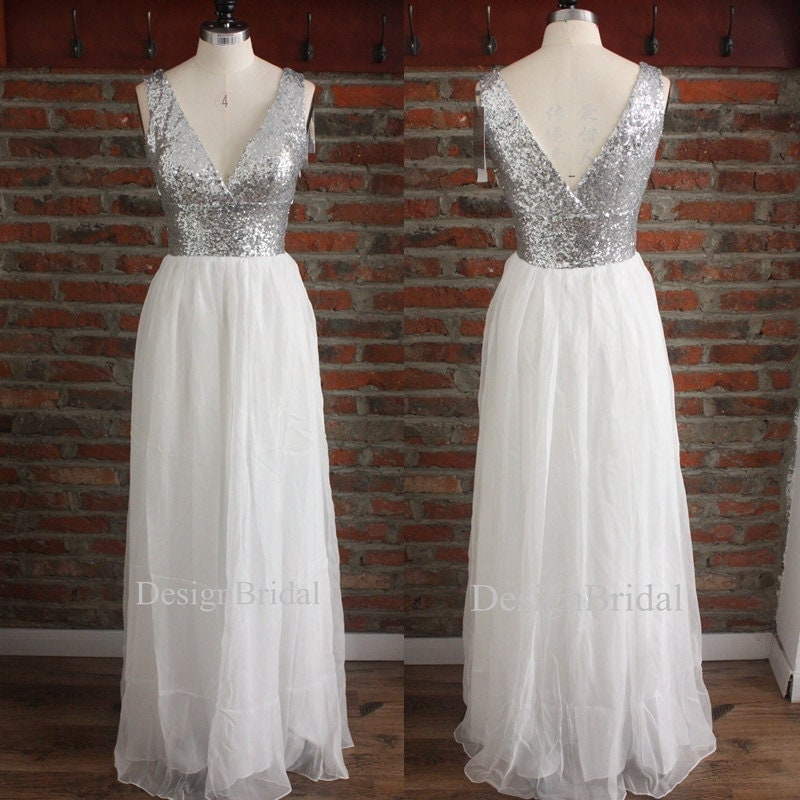 Style Axnf Maxine Wedding Dress Simple Yet Elegant This: Long Bridesmaid DressDouble V Neck Sequin Chiffon Long Prom