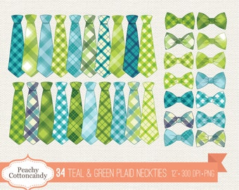 BUY 2 GET 1 FREE 34 Teal & Green Plaid Neckties Clipart - Plaid Necktie and Bow Tie Clip Art - Tie Embellishment - Commercial Use Ok