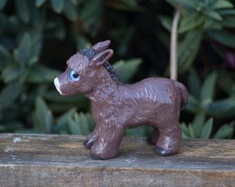 Standing donkey 6cm tall handmade polymer clay figure OOAK