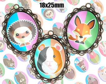 Digital Collage Sheet Funny Animals 18x25mm Printable Oval Download for pendants magnets Cabochons jewelry