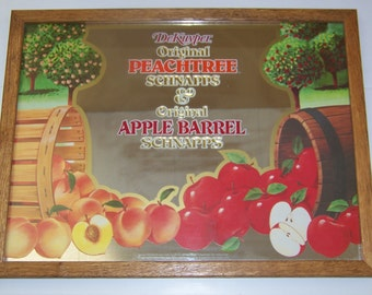 Vintage Rare Dekuyper Peachtree Apple Barrell Schnapps Liquor Bar Mirror Wall Décor Sign Advertising Signage Bar Sign