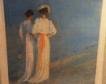 "Needlepoint canvas ""Vintage Two Women walking on the beach"" #VW5"