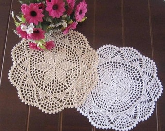 "Lot of 6 pcs ~ 12"" Round doilies, hand crocheted wedding doilies, 100% handmade lace doilies, handmade round coasters for home decor"