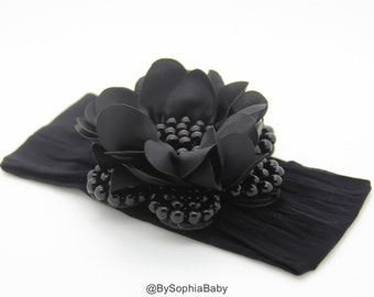 Baby Headband, Black Pearl Flower Headband, Baby Flower Headband, Big Flower Headband, Flower Girl Headband, Black Baby Headband, 1040