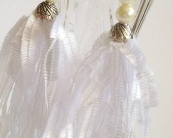 Boho earrings/ Long Ladder Yarn Earrings/ Yarn Earrings/ White Earrings/ Fiber Earrings/ Yarn Earrings/ Trellis Earrings/ Long Yarn Earrings