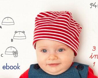 "Baby-hat pattern, Baby, Hat, Beanie, kids, children, easy, Boy, Girl, toddler, newborn, ebook pdf sewing pattern ""Bubu"" from Pattern4kids"