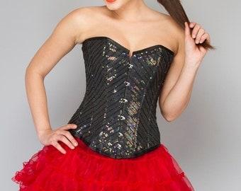 Marvelous Black Sequine Overbust Corset Dress