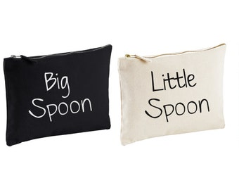 Couples Wash Bag Big Spoon Little Spoon Wedding Present Novelty Gift Present Anniversary Birthday Christmas Spooning
