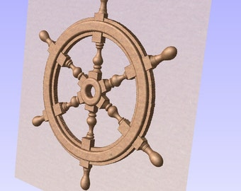 Ships steering wheel STL relief file 3D model printer CNC vectric aspire cut3D artcam