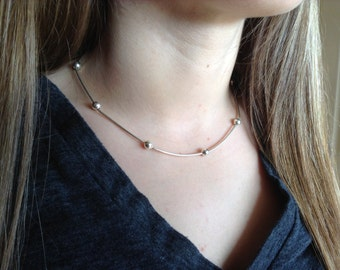 241} 925 Sterling Ball Necklace 18 inch