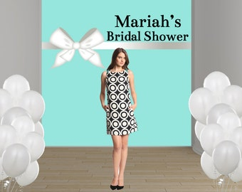 Bridal Shower Personalized Photo Backdrop - Baby Shower Party Backdrop, Aqua and White Bow Photo Backdrop, Custom Backdrop