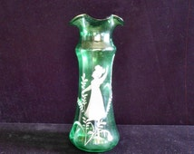 Antique Mary Gregory Vase on Green Blown Glass