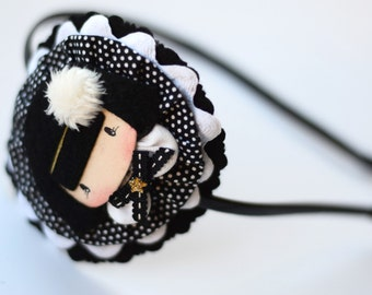 Headband for a girl in black and white.