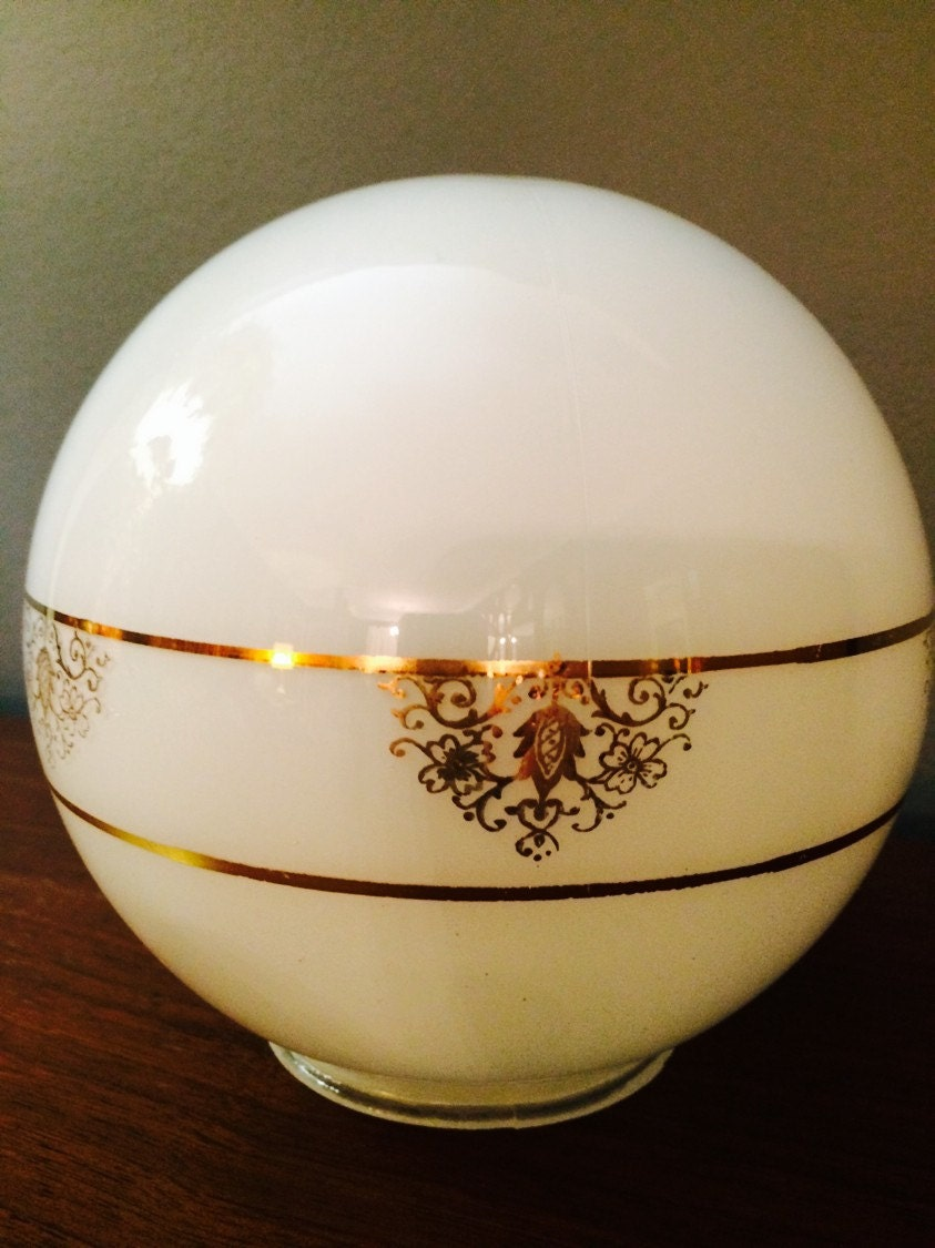 Mid century white glass ceiling globe light fixture gold