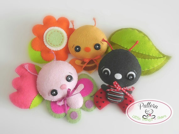 Garden Bugs set of Three PDF sewing pattern-Ladybug-Bumble Bee-Butterfly-DIY-Nursery decor-Instant download--Baby's mobile toy