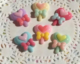 Cabochon, Decoden Cabochons - Pastel Heart Lollipop Cabochons - 6 pc Set