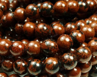 Mahogany Obsidian Natural Gemstone - 6mm Rounds - Pack 50
