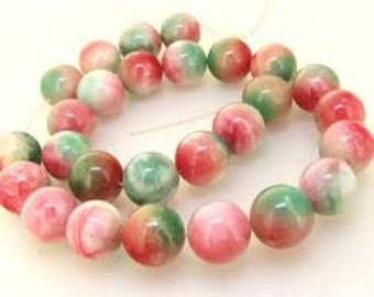 Colourful Jade Natural Gemstone - 8mm Rounds - Pack 25