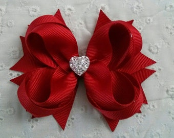 Red Boutique Hair Bow - Girls Hair Bow - Toddler Hair Bow - Valentine Hair Bow - Holiday Hair Bow - Formal Wedding Bow with Sparkly Heart