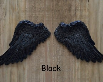 Vintage Antique Style Shabby Chic Black Angel Wings Wall Art Decoration
