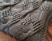 Knitted Afghan, Handmade Knitted Afghan, Pewter grey afghan, Cable Stitch Afghan, Knitted, Gift idea,