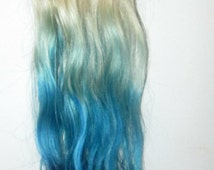 Balayage Dip Dye 8A Remy Ombre Balayage Human Halo Hair Clip In Hair Extensions     Blonde Colour 60 & Blue    26