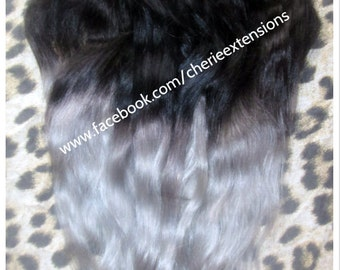 """SALE and ready to ship Remy Human Double Weft Clip In Hair Extensions -18"""" - #1B Off Black into Silver Grey 120g"""