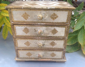 Vintage Italian Gold Painted Wood Four Drawer Jewelry Box