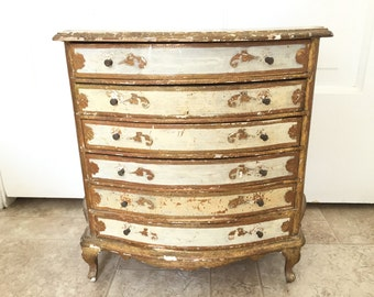 Vintage Italian Gold Painted Six Drawer Jewelry Chest Shabby Chic