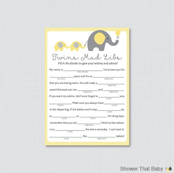 Elephant Twins Baby Shower Mad Libs Printable By