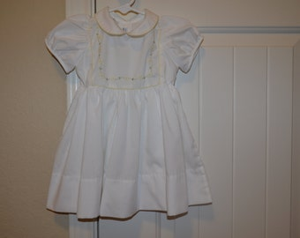 Vintage White Baby Girl Dress Little Diana, flowers 18 months summer