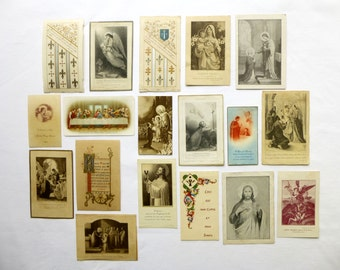 18 old French religious images 1800-1900 - Catholic pious Images - first communion - Ordination - Jesus - prayer - Messe