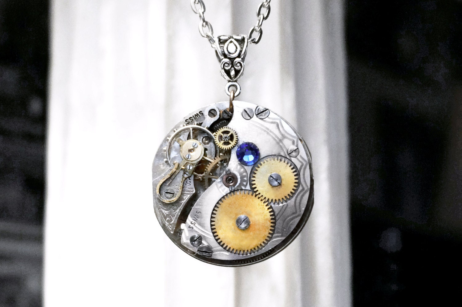 Steampunk BDSM jewelry submissive collar necklace silvered