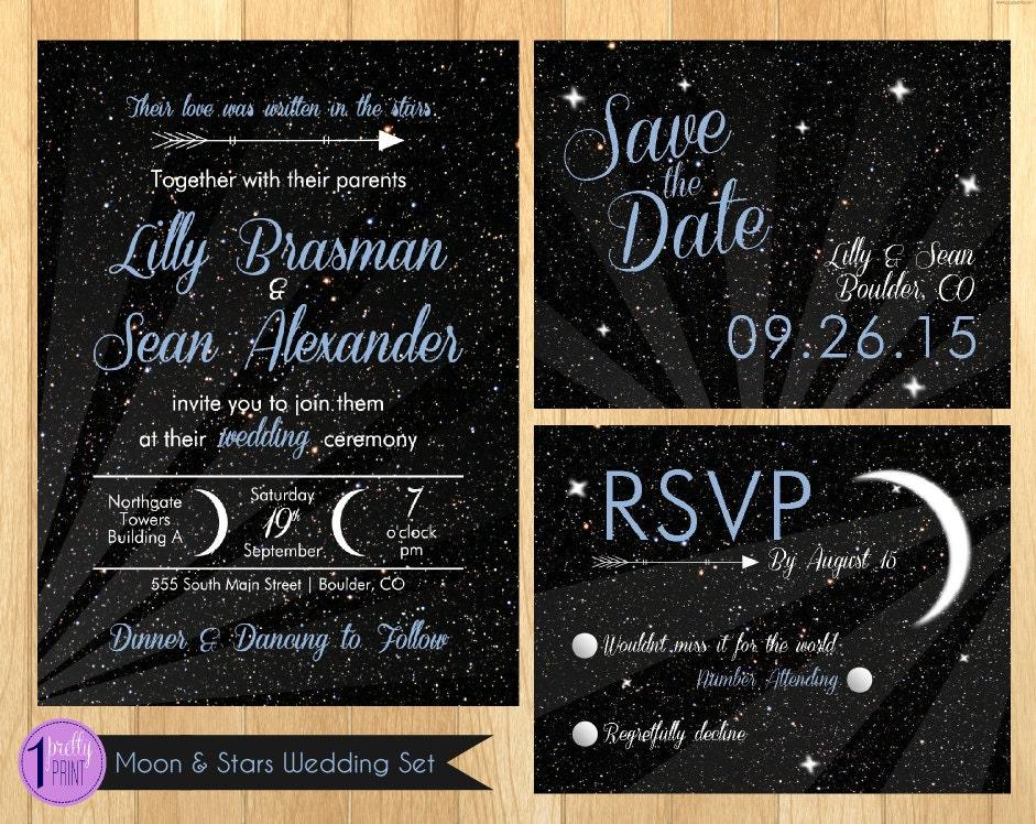 Star Wedding Invitations: Moon & Stars Wedding Invitation Set By OnePrettyPrint On Etsy
