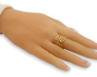 Filigree Ring Gold Filled 14K Band Ring handmade jewelry, floral ring