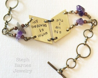 Song of Solomon bracelet in bronze with amethyst detail