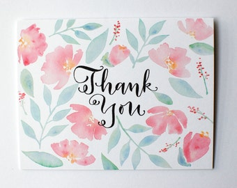 Thank You Card, Watercolored Floral Thank You, Handmade Card, Thank You Flowers