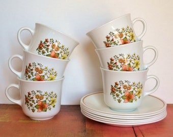 Corelle Livingware Indian Summer Cups And Saucers - 12 Pieces - Set of Six (6)