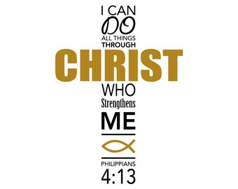 Philippians 4:13 Cross Decal FREE SHIPPING