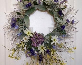 Beach Wedding Decoration/Large Beach Wreath/ Beach Party Decoration/ Wildflowers , Lavender,Roses, Hydrangea Wreath