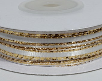 "1/8"" Satin Ribbon with Gold Edge - White"