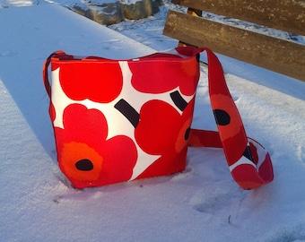 Cross body bag made from Marimekko fabric Unikko, red messenger canvas bag with magnetic closure, shoulder purse, Scandinavian modern