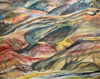 Painted Hills in Oregon - original watercolor painting